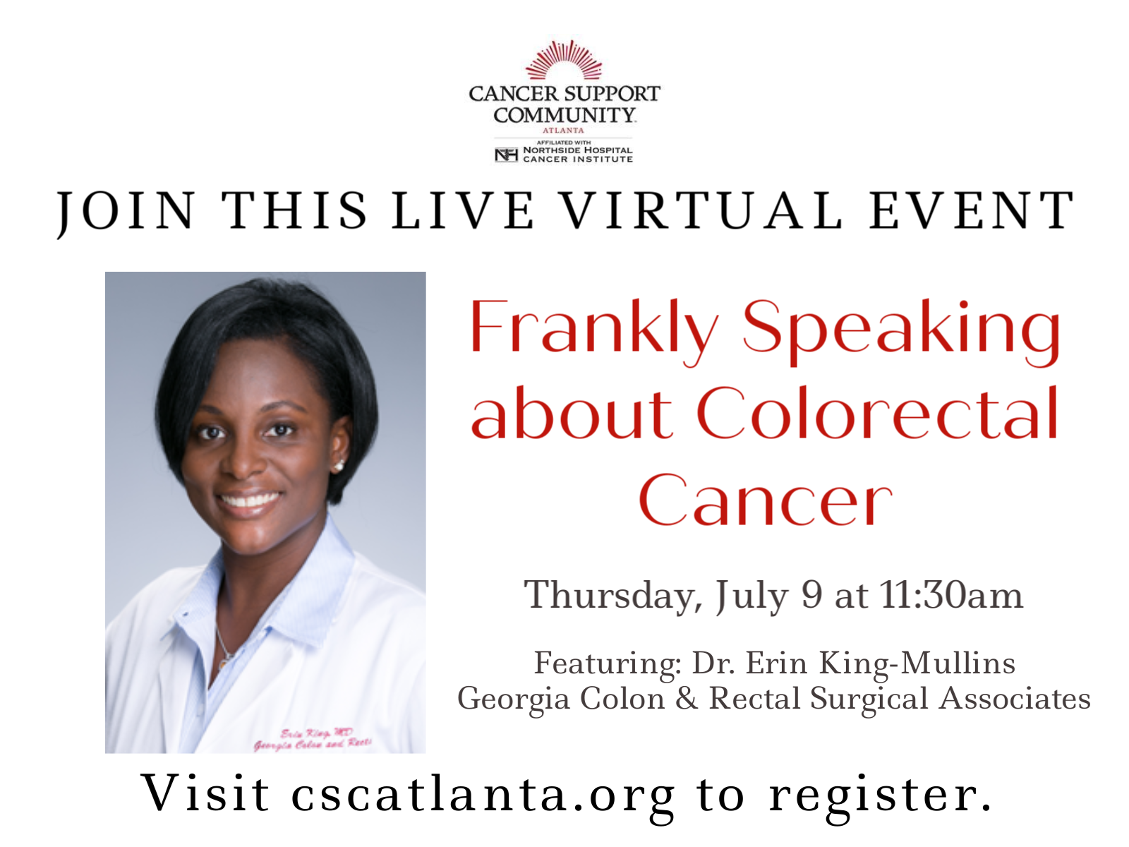 Live Virtual Event - Frankly Speaking about Colorectal Cancer